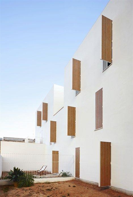 View of private courtyards at Sa Pobla Social Housing. Photo: José Hevia