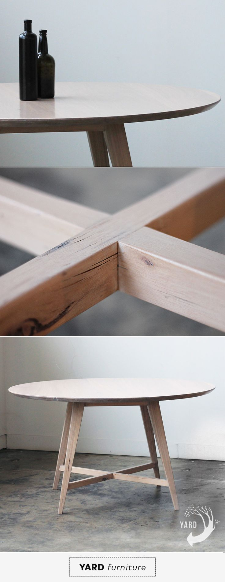 YARD Furniture - Custom made round dining table. Recycled, salvaged mountain ash blonde timber. Minimal furniture maker, Melbourne Australia.