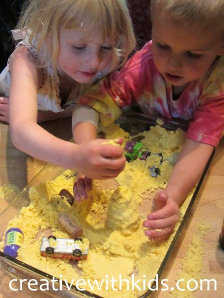 Sand Castle Dough! Made with cornmeal and oil, such a neat texture.: Cornmeal Castles, Castles Sensory, Kids Sensory Activities, Cornmeal Sensory, Castles Dough, Castles Activities For Kids, Sands Castles For Kids, Sensory Plays, Activities Sands