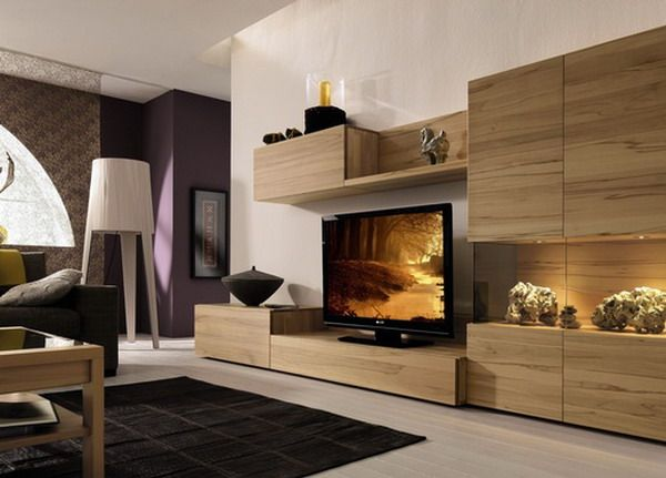 Furniture, Wooden Wall Units Design Ideas And Tv Cabinet Design With Light  Wood Media Center With Wall Unit Ideas And Furniture Ideas With Wooden  Flooring ...