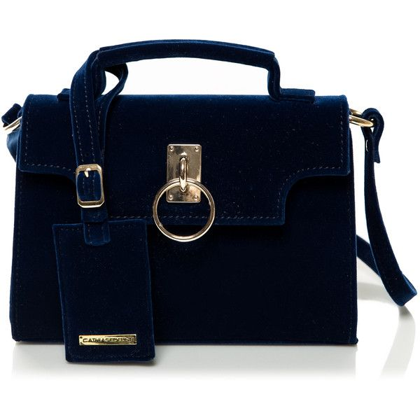 Cathias Edeline Velvet Navy Bag (2825 NIO) ❤ liked on Polyvore featuring bags, handbags, tote bags, navy blue, cross-body handbag, navy blue tote, handbags totes, crossbody purses and crossbody tote
