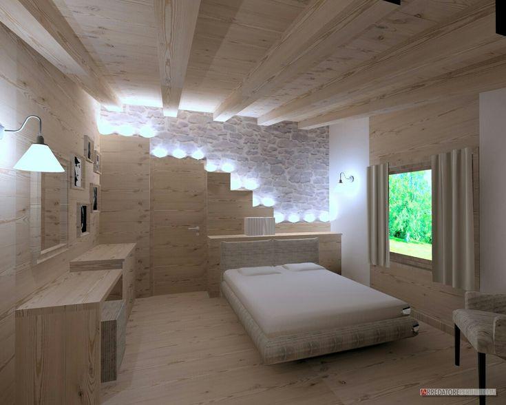 Camera rustica parete illuminata parete sasso e legno for Arredamento 3d online