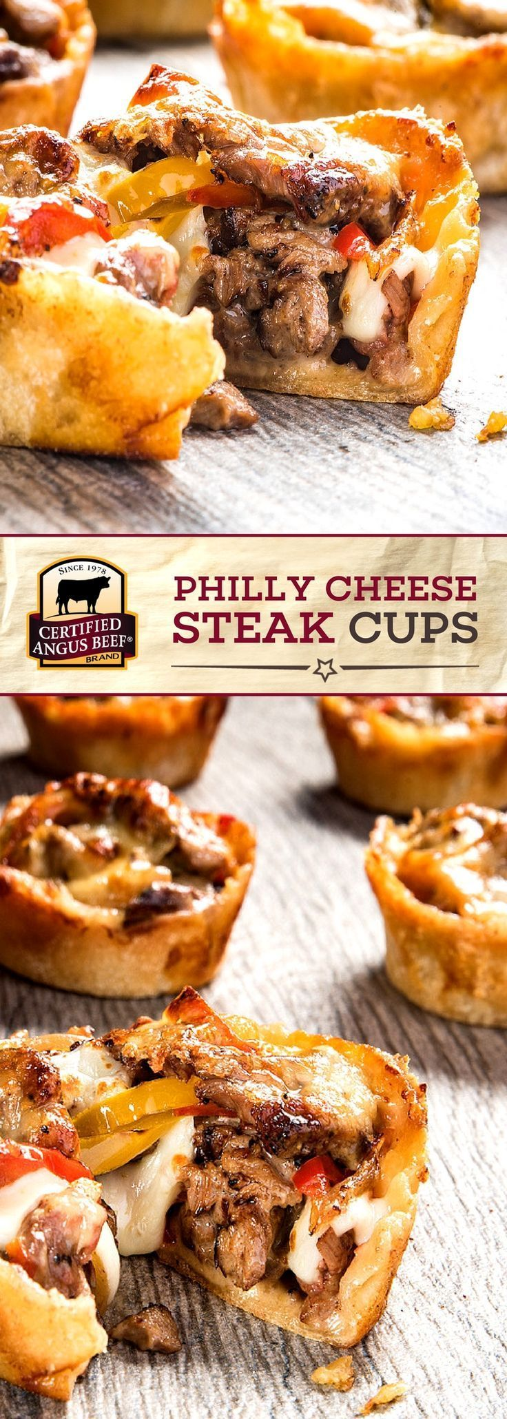 Certified Angus Beef®️️️️️️️️️️️️️️️️️️️️️️️️ brand Philly CHEESE STEAK Cup appetizers have all the cheesy, beefy DELICIOUSNESS of a Philly Cheese Steak packed into a soft, buttery crescent roll crust. Simply IRRESISTIBLE!! Serve this EASY appetizer recipe at all of your parties and watch them disappear! #beefrecipe #appetizerrecipe #holidayrecipe #certifiedangusbeef #bestangusbeef #gamedayrecipe #easyfootballfood