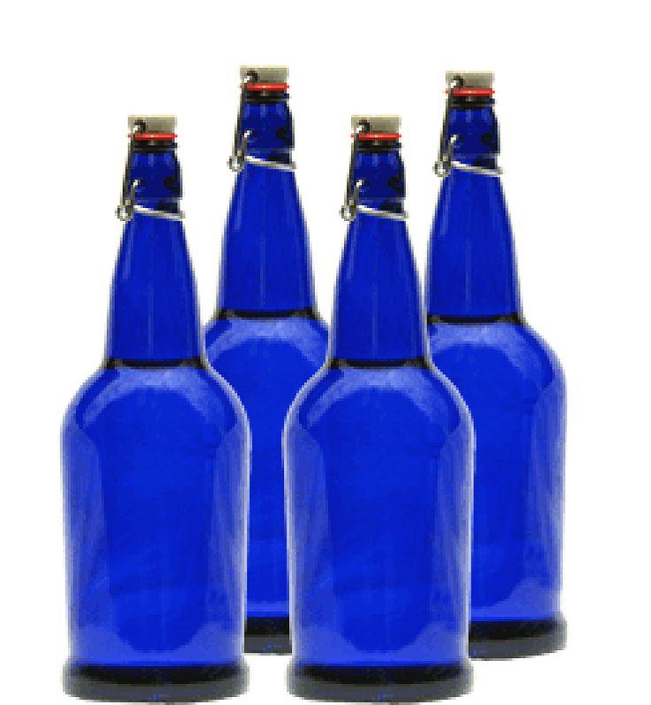 Blue Glass Solar Water Bottle 1 Liter (4 Pack)