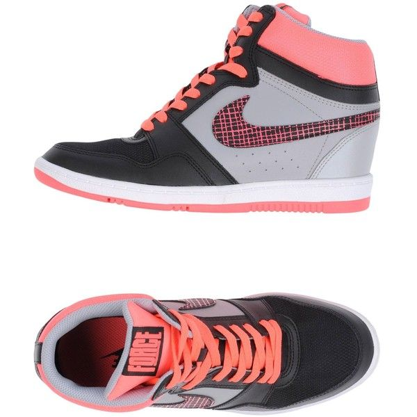 Nike High-tops & Sneakers (2.230 ARS) ❤ liked on Polyvore featuring shoes, sneakers, black, high top wedge sneakers, black wedge shoes, wedge sneakers, black wedge sneakers and nike high tops