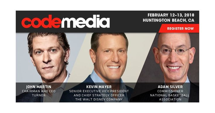 Disneys Kevin Mayer the NBAs Adam Silver and Turners John Martin are coming to Code Media   The Code Media agenda for this month is jam-packed with the most interesting and influential names in media and technology. But Kara Swisher and I couldnt resist. Weve added three more must-see speakers:  Disney SVP Kevin Mayer runs strategy biz dev and M&A for the media giant and hes the man who put together three amazing purchases: Pixar Marvel and Lucasfilm. Now hes engineering Disneys colossal Fox…