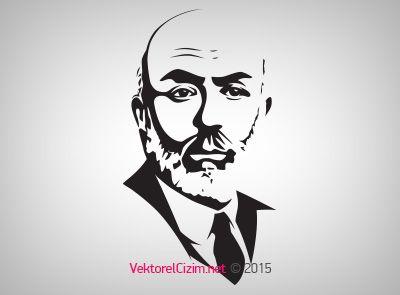 Vektörel Çizim | Mehmet Akif Ersoy Silüeti