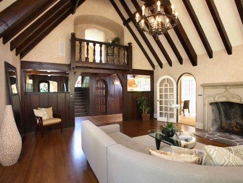 I love this living room! I definitely have an obsession with Tudor-style homes