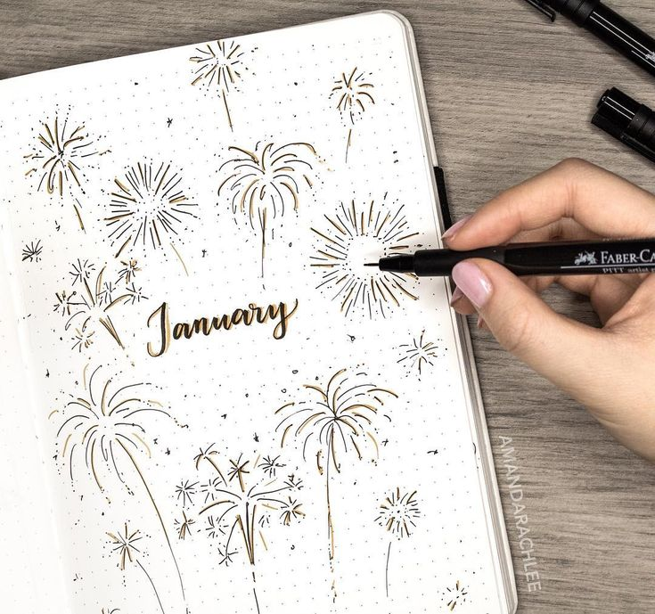Bullet journal monthly cover page, January cover page, fireworks drawing. | @amandarachdoodles