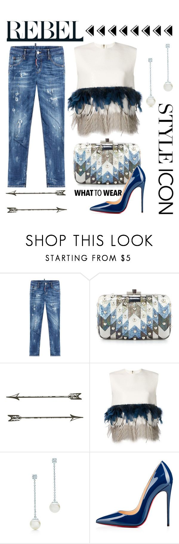 """""""Classy Rebel"""" by conch-lady ❤ liked on Polyvore featuring Dsquared2, Judith Leiber, Christian Louboutin, women's clothing, women's fashion, women, female, woman, misses and juniors"""