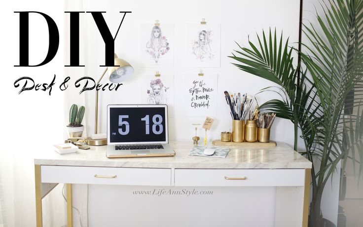 """5 EASY DIY Desk Decor & Organization IKEA Hacks   ANN LE - """"Marble"""" Desk, Mousepad, Animal Business Card Holders, Cute way to hang pictures, pencil holder"""