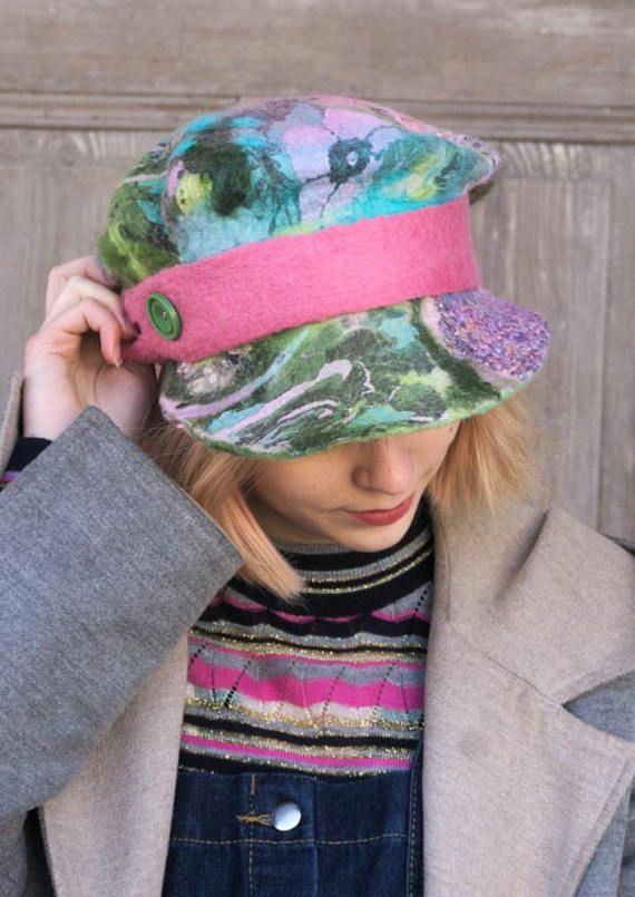 Beautiful fancy felted Newsboy cap, fashionable and unusual wool beanie, in bright spring colors - green, turquoise, pink and purple, decorated with pink felted strap and green vintage button. I made it using technique nuno felting of soft Australian merino wool with pieces of decorative