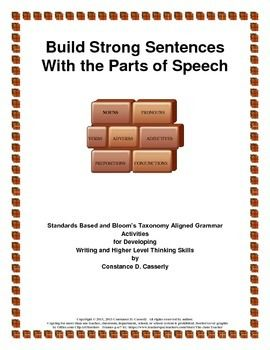 Students need to review those building blocks of strong sentences, the Parts of Speech. Middle School and High School students need to understand the parts of a sentence if they are to compose original strong sentences.In March 2015, I added three more activities to this packet, $