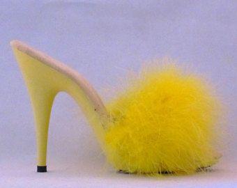 Artículos similares a VIP 5 pulgadas hecha a mano naranja marabú Boa zapatillas de tacón alto sandalias de mujer zapatos en Etsy