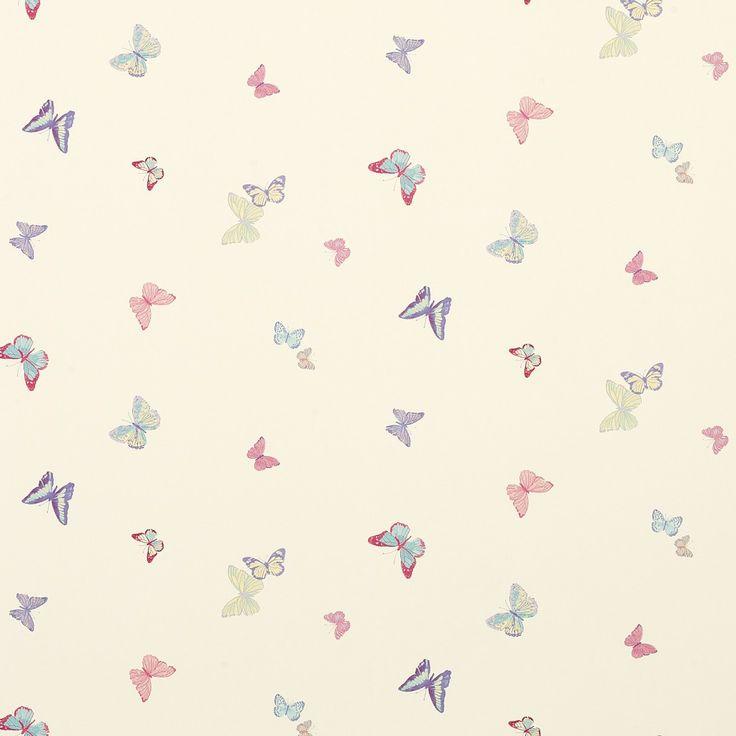 Summer Meadow Butterfly Tapet; Cerise Pink/Multi
