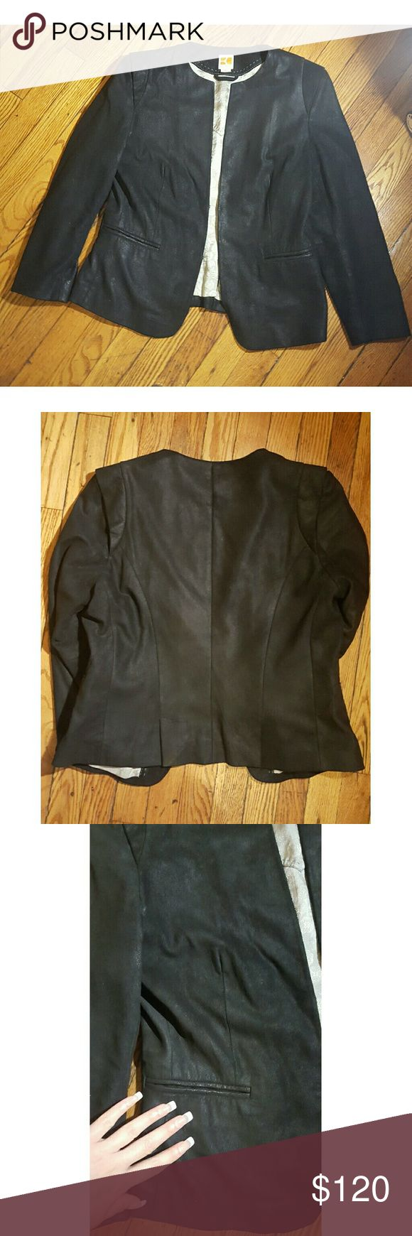 Boss Orange Black Suede Leather Jacket M Super cute & trendy.. great condition BOSS ORANGE Jackets & Coats