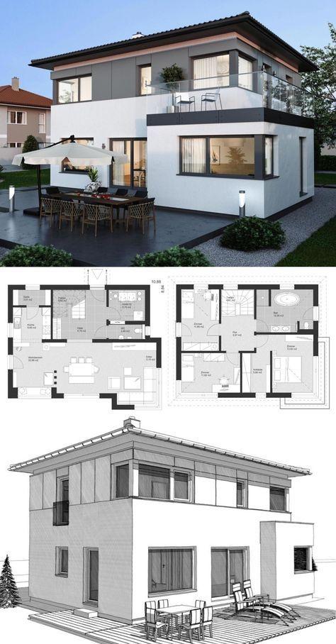 Moderne Landhaus Stadtvilla Mit Walmdach Architektur Holzfassade