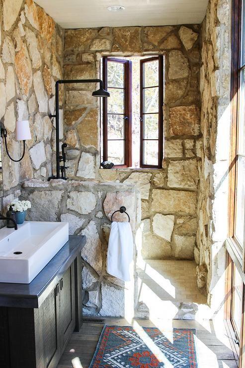 Small rustic cottage bathroom features a vanity mirror ... on Rustic:s9Dkpzirpk8= Farmhouse Bathroom  id=18407