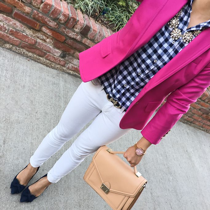 Love! j-crew-fucshia-schoolboy-blazer-petite-gingham-shirt-talbots-novelty-buckle-reversible-belt-halogen-bow-pumps-loeffler-randall-rider-bag