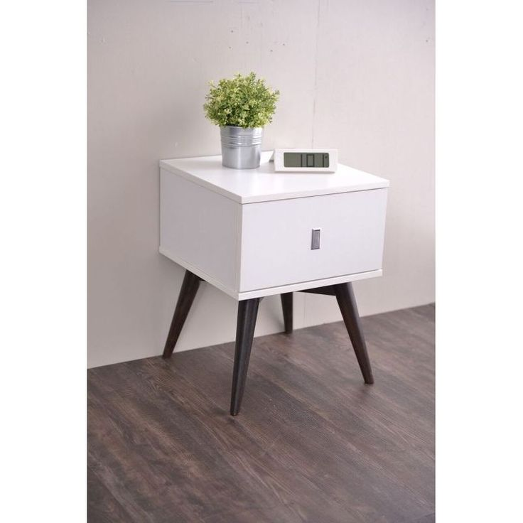 Vino Bedside Table with Drawer in Gloss White | Buy Bedside Tables