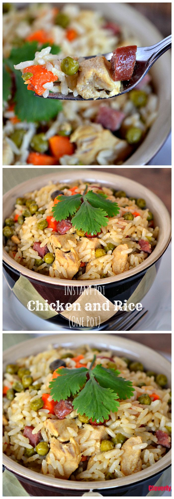 This Instant Pot Chicken and Rice (Arroz Con Pollo) is the perfect one-pot meal! All you need is chicken, hot dogs, rice, vegetables and a pressure cooker and you have the perfect meal anytime of the week. Find the recipe at CleverlyMe.com