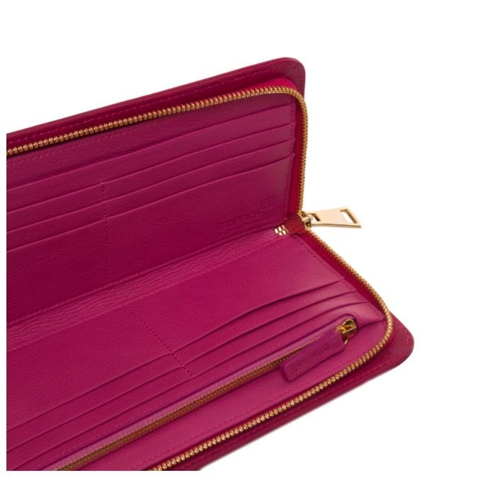 MUANGA | Grace Continental Wallet in hot pink grain leather with interior details in fuxia calf leather.