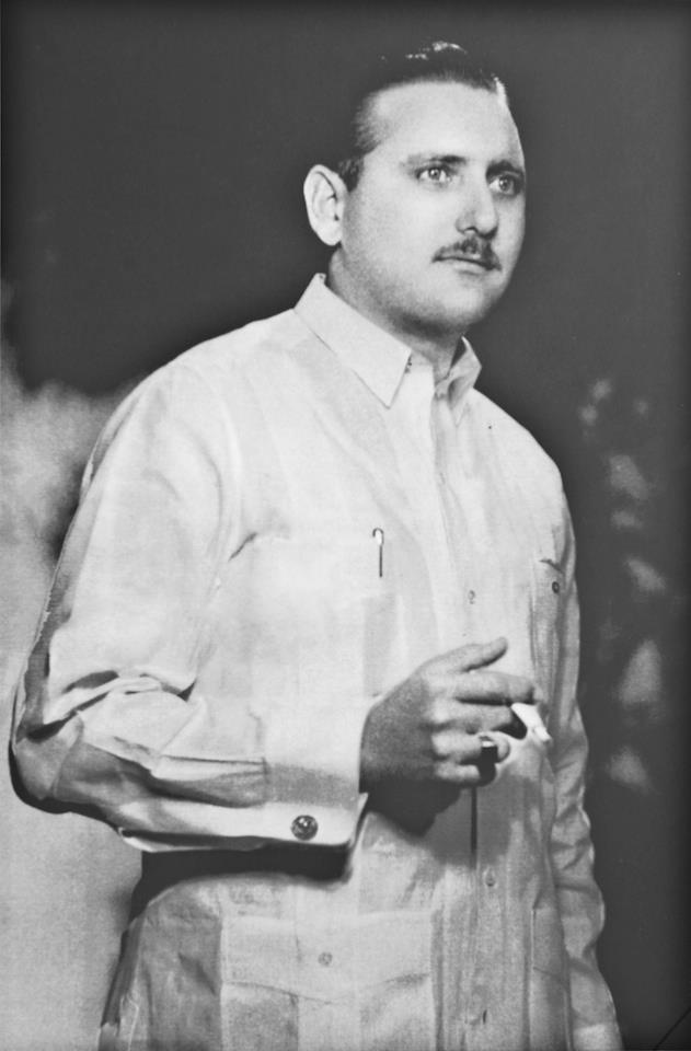 Ramon Puig in the 1950s in Cuba, wearing the original, authentic guayabera which he became famous for around the world.