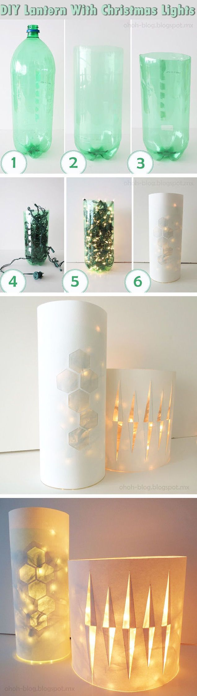 Diy lantern with christmas lights pictures photos and for Home decor using plastic bottles