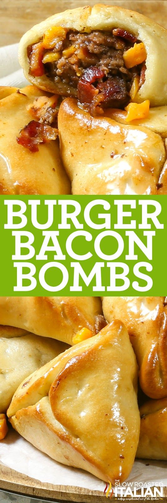 Bacon Burger Bombs are a modern twist on a family tradition! Stuffed burger pockets are perfectly seasoned and loaded with bacon. Soft and tender dough envelopes the bacon-flavor explosion. This simple recipe is sure to become a regular in your kitchen too! Partnered with @JonesDairyFarm #JonesFamilyRules #ad http://www.theslowroasteditalian.com/2017/12/bacon-burger-bombs.html