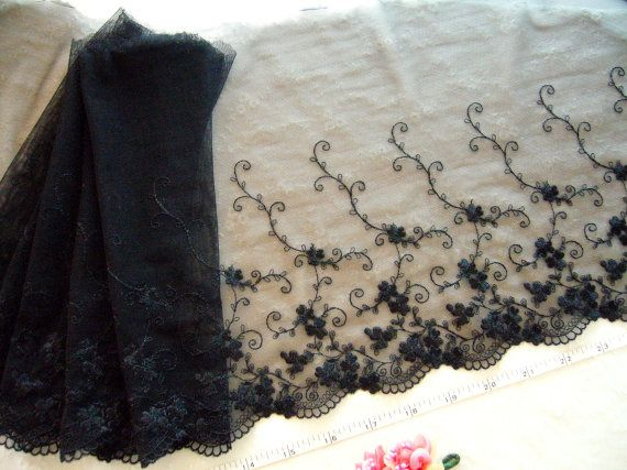 Stretch lace, Elastic trim, Tulle lace, Net lace, Black lace, Lycra trim,  2 yards BK083