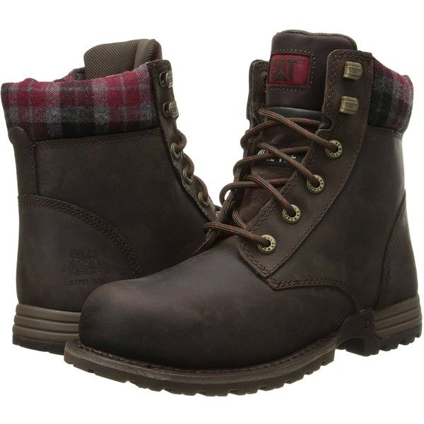 Amazon.com | Caterpillar Women's Kenzie Steel Toe Work Boot | Ankle &... ($132) ❤ liked on Polyvore featuring shoes, boots, ankle booties, ankle bootie boots, short boots, kenzie boots, bootie boots and work boots