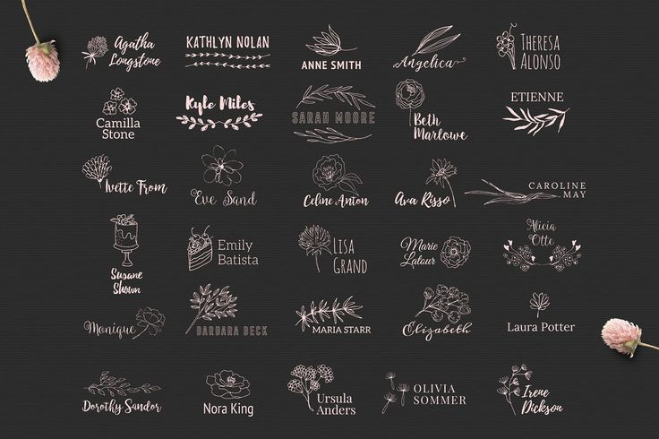 30 Personal Logos by Bloomart on @creativemarket Creative logo design inspiration, perfect for a modern business branding with perfect font and typography selection. Take some ideas or use this feminine, elegant, nature, floral and also hipster set.