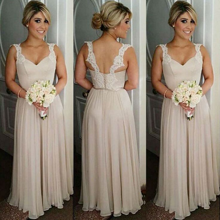 Find A Elegant Long Chiffon Bridesmaid Dresses Lace Sexy Light Champagne Bridesmaid  Dress Tank Sweetheart Bridesmaid