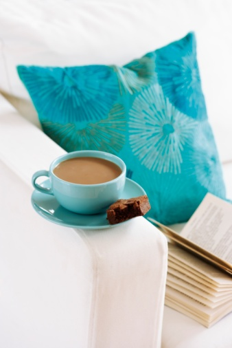 Royalty-free Image: Book and Cup of Coffee on Sofa