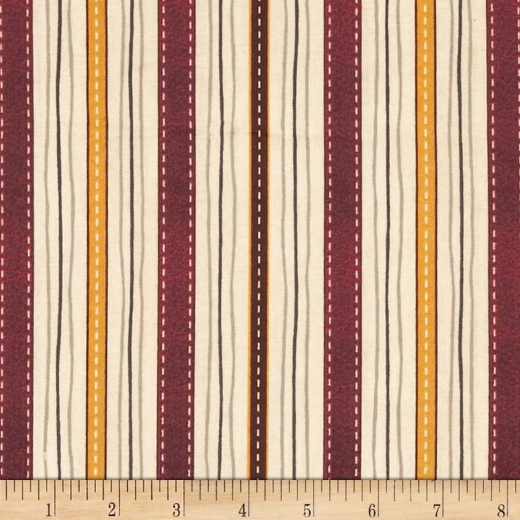 Classic Indian Stripe Tan from @fabricdotcom  Designed by Indian Motorcycle International and licensed to Quilting Treasures, this cotton print is perfect for quilting, apparel and home decor accents.  Colors include cream, grey, black, maroon, gold and brown.  This stripe is printed parallel to the selvedge.
