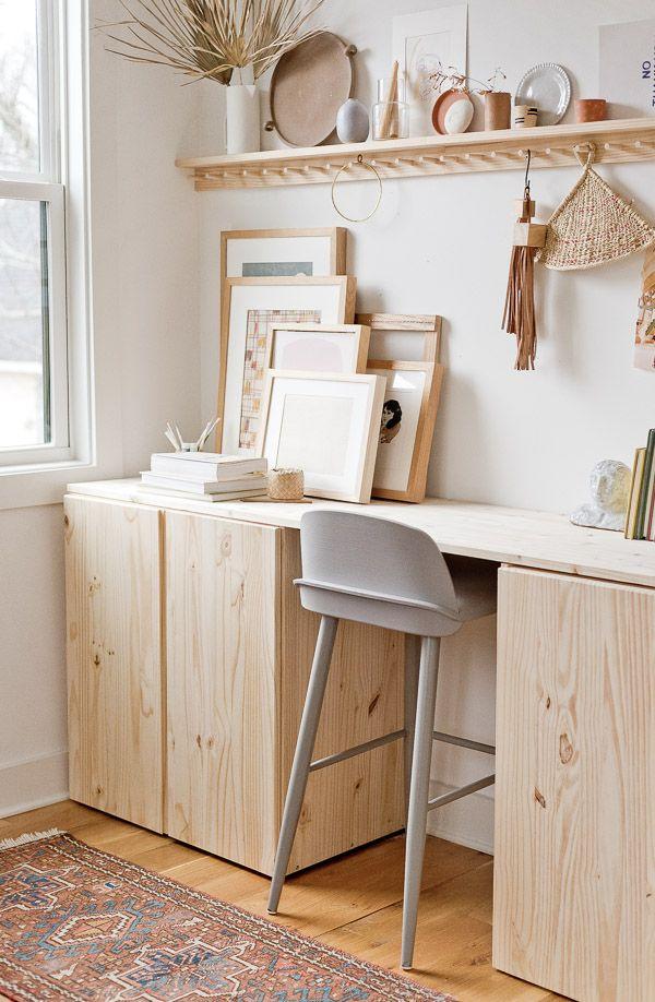 Stand Up A Diy Standing Desk Ivar Ikea Hack Paper And Stitch Recipe Diy Standing Desk Ivar Ikea Hack Ikea Ivar Cabinet
