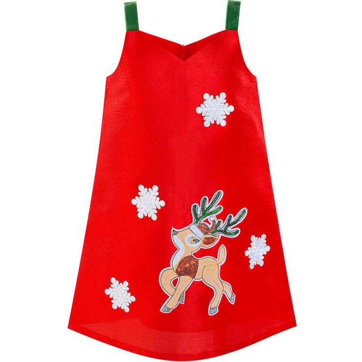 Sunny Fashion Robe Fille A-ligne Réservoir Rouge Vert Renne Neige Noël Vacances
