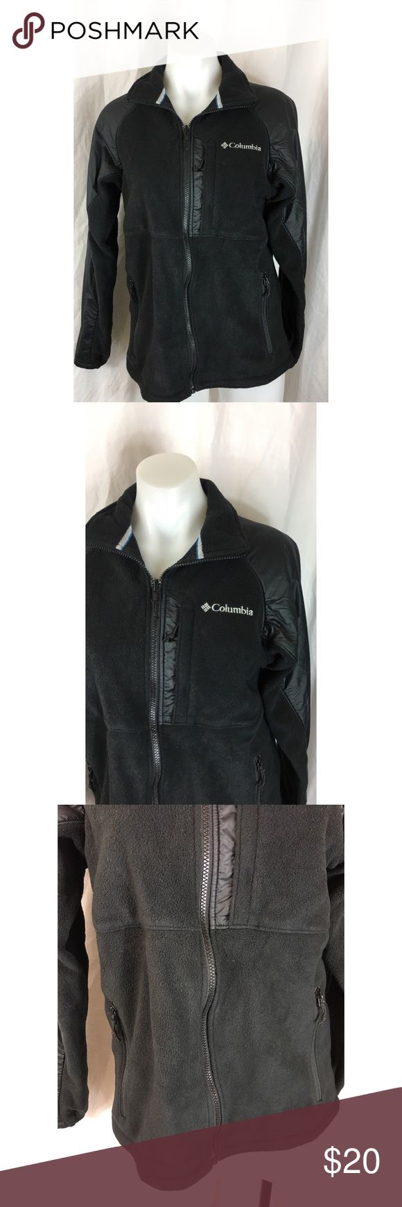 Columbia Jacket Interchange Ten Trail III fleece Columbia Jacket Interchange Ten Trail III fleece black  WM6361 men's Size:  S Approx measurement: armpit to armpit - 19 1/2 inches; length - 25 inches Fabric content: shell: 100% polyester; trim: 100% nylon; lining: 100% polyester Machine washable Gently used - see pictures Columbia Jackets & Coats