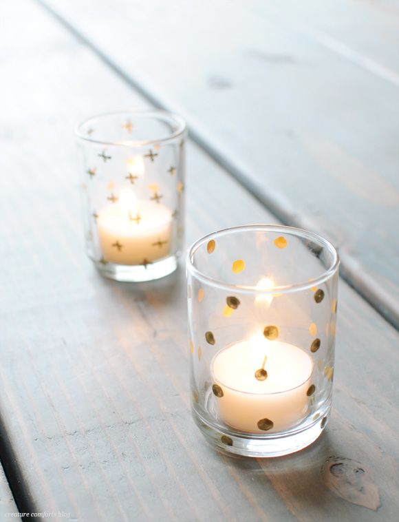 diy with dollar store votive holders metallic paint and