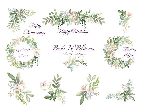 Wedding Invitation Buds And Blooms Watercolor Botanicals Etsy
