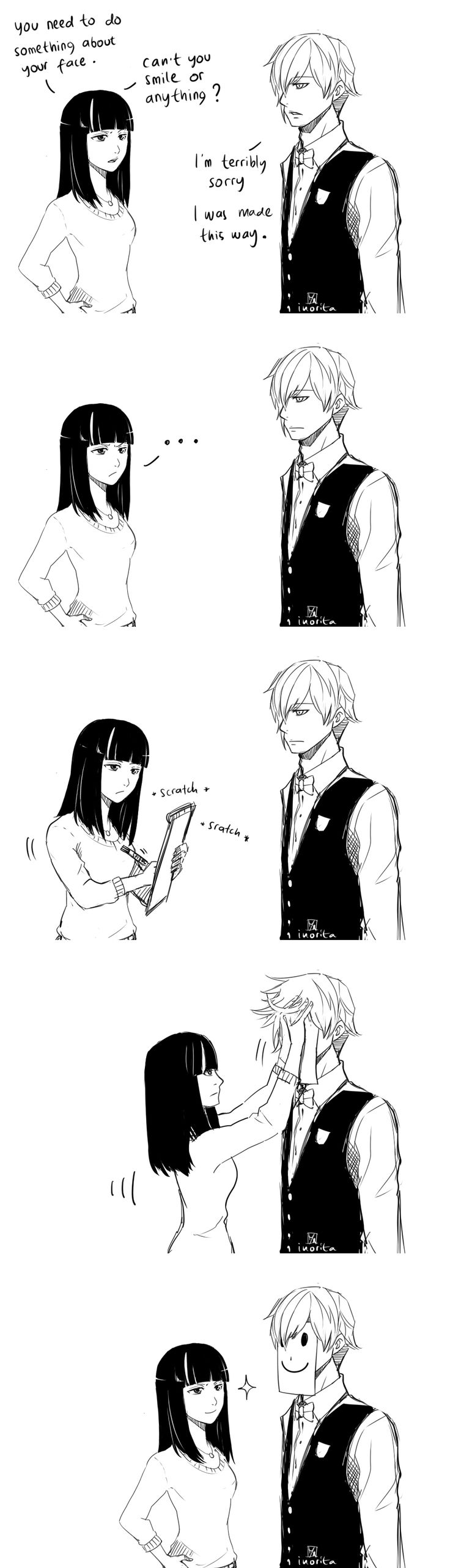 Death parade, Decim, Chiyuki/// does he smile at all during this whole anime????