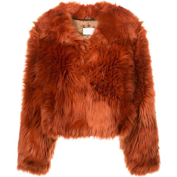 Maison Margiela faux fur cropped jacket ($2,645) ❤ liked on Polyvore featuring outerwear, jackets, maison margiela, faux fur jacket, brown jacket, cropped jacket and long sleeve jacket