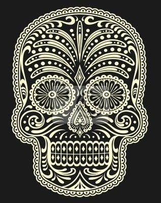 Wall Mural sugar skull - art - design - leaf • PIXERSIZE.com