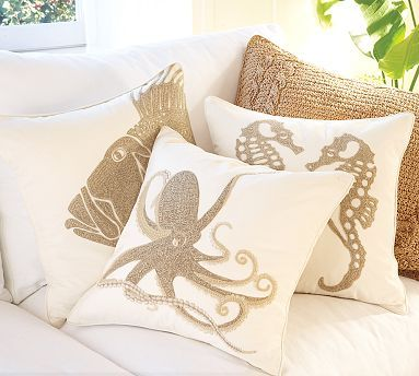 Seaside #decor for #home -pillows in neutral colors with octopus, fish and seahorse