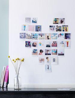 maak van je favoriete foto's een hart op de muur. DIY 101woonideeen.nl/zelfmaken/recht-hart.html