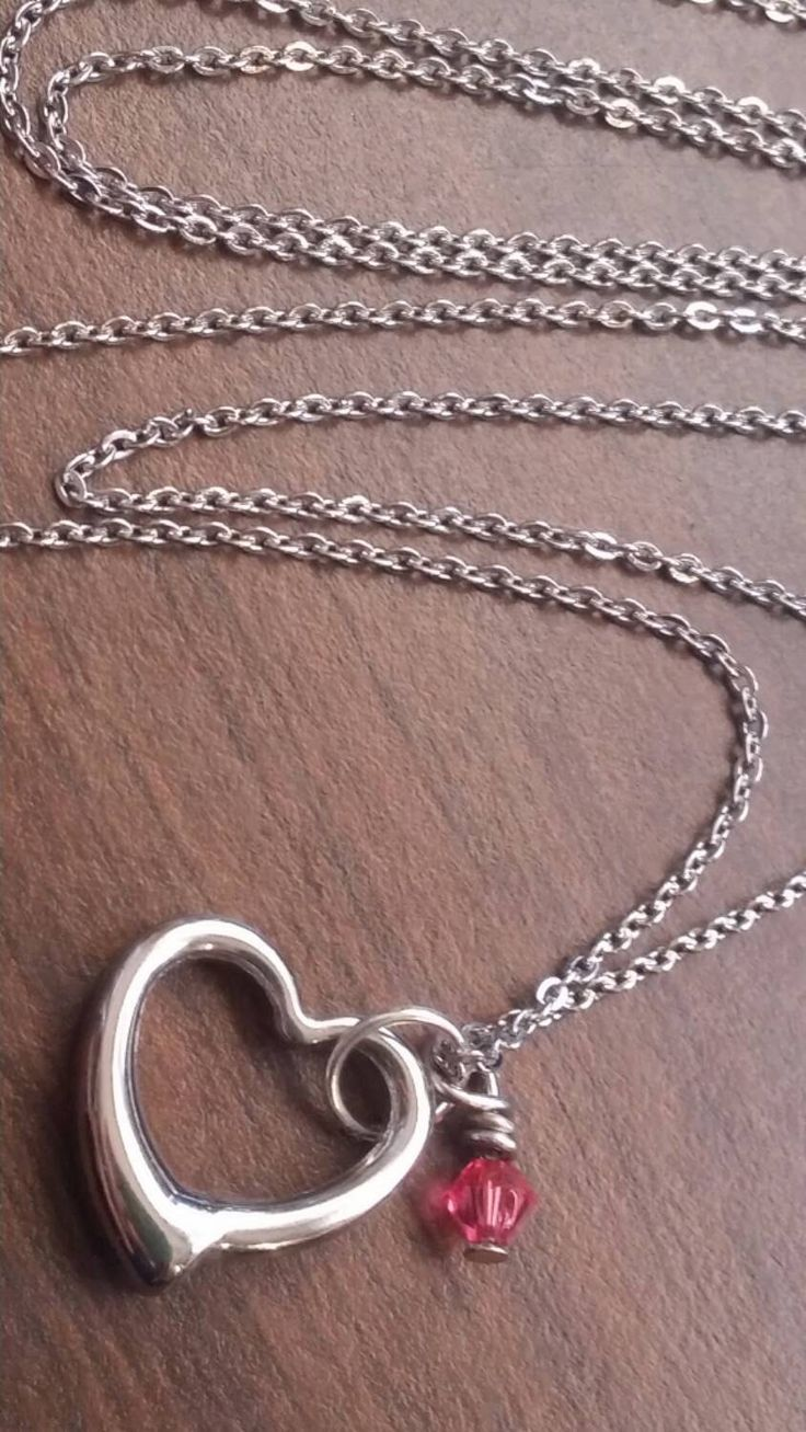 stainless steel small heart pendant necklace, silver heart birthstone charm necklace, Personalized steel necklace