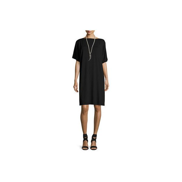 Eileen Fisher Split-Sleeve Jersey Shift Dress Petite (€180) ❤ liked on Polyvore featuring dresses, black, women plus size dresses, half sleeve dresses, jersey dresses, sleeved dresses and plus size dresses