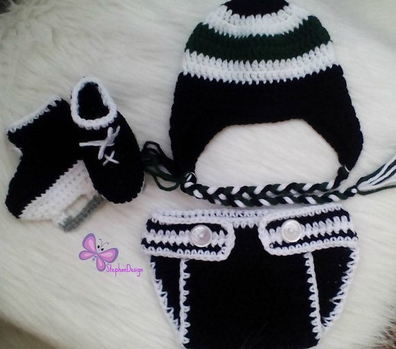 Baby Boy Crochet Hockey Outfit HOCKEY BABY BOYS by StephanDesign