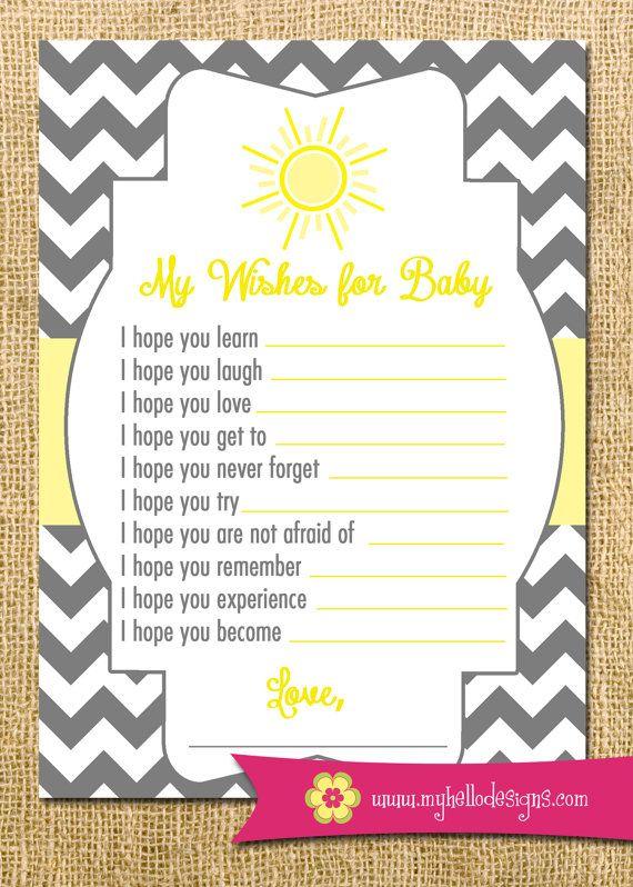 Printable Sunshine Wish Card - You Are My Sunshine DIY - sun sunshine chevron cheery baby shower invitation party wishes birthday