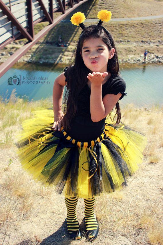 BUMBLE BEE COSTUME--Custom Made Hand-Tied Ribbon Tutu Skirt with Antenna Headband, sizes Newborn-5T